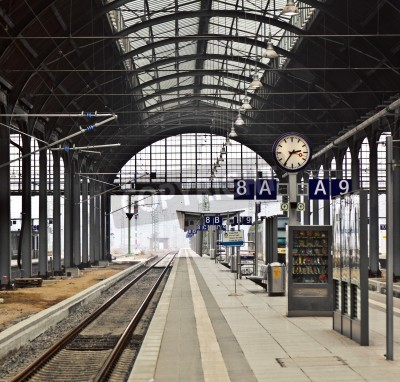 Poster classicistical railway station in Wiesbaden, Germany