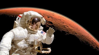 Poster Close up of an astronaut in outer space, planet Mars in the background. Elements of the image are furnished by NASA