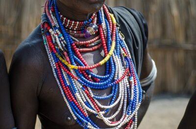 Poster Close up of necklaces of Arbore tribe woman