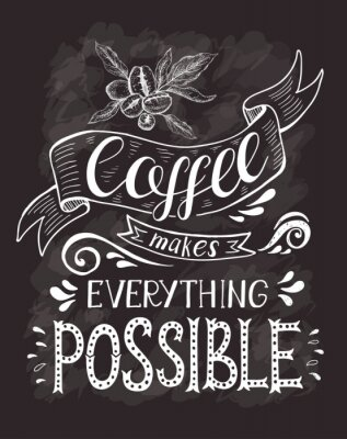 Poster Coffee banner with quote on the chalk board. Coffee makes everything possible .