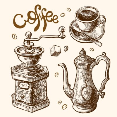 Poster coffee sketch illustration