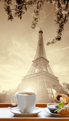 Poster Coffee with croissants against Eiffel Tower in Paris, France
