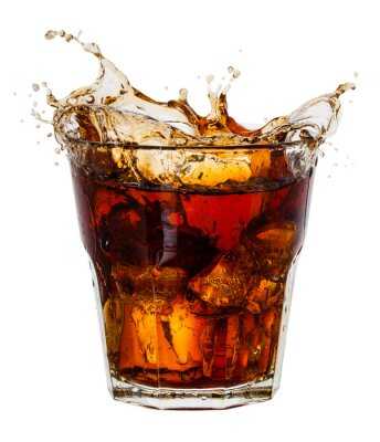 Poster Cola with splash of ice cubes on white. With clipping path