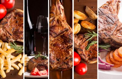 Poster Collage from photos of grilled meat