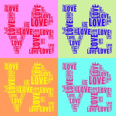 Poster Collage of colorful vintage pop art style words cloud LOVE