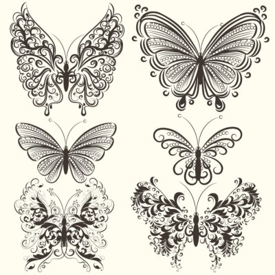 Poster Collection of abstract vector swirl butterflies for design