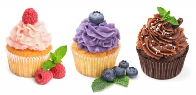 Poster Collection of bright cupcakes with fresh berries isolated on whi