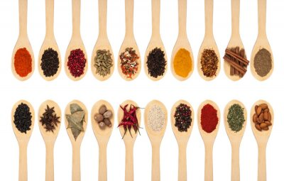 Poster collection of spices on spoons
