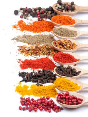 Poster collection of spices on spoons, isolated background
