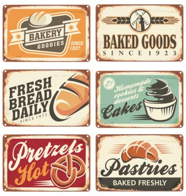 Poster Collection of vintage vector bakery signs
