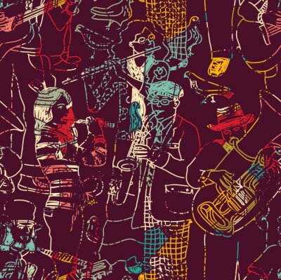 Poster Color music jazz band seamless pattern.