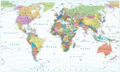 Poster Colored World Map - borders, countries, roads and cities. Isolated on white