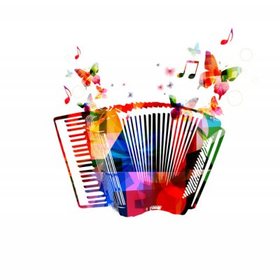 Poster Colorful accordion. Music instrument background with butterflies