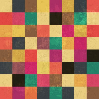 Poster Colorful aged squares. Seamless pattern. Grunge layers can be ea