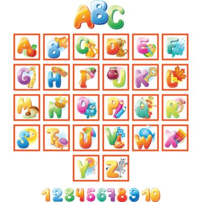Poster Colorful Alphabet for kids with pictures