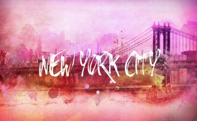 Poster Colorful artistic pink New York City panorama