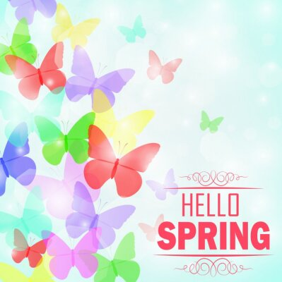 Poster Colorful butterflies Background with text Hello Spring