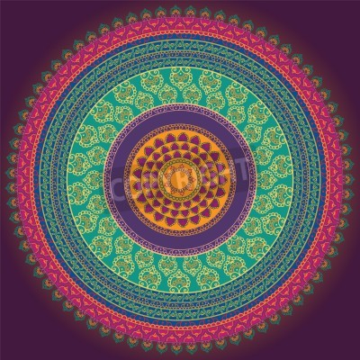 Poster Colorful Henna Mandala design, very elaborate and easily editable