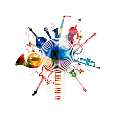 Poster Colorful musical instruments background