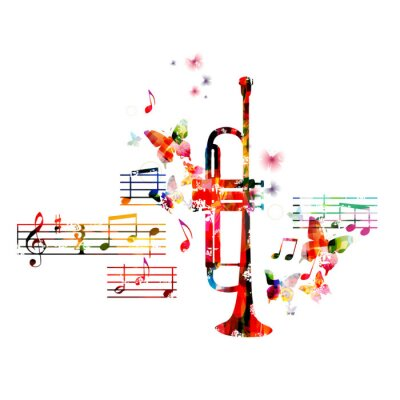 Poster Colorful trumpet design with butterflies