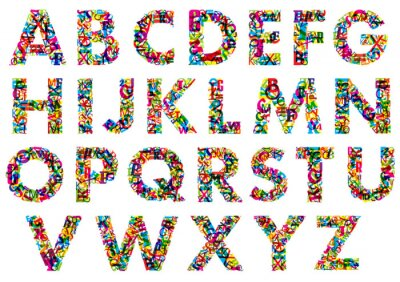 Poster Colorful upper case alphabet letters