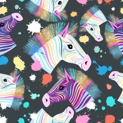 Poster colorful zebra pattern