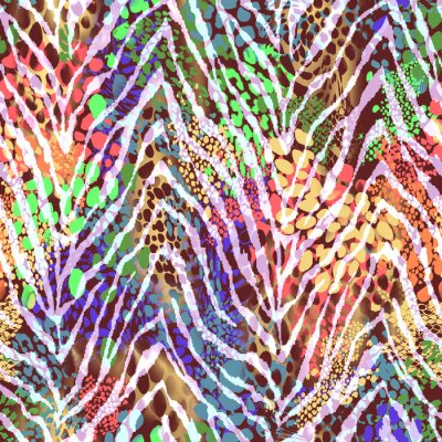 Poster colorful zebra texture on spots ~ seamless background