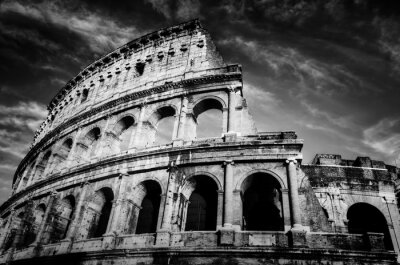 Poster Colosseum in Rome, Italy. Amphitheatre in black and white