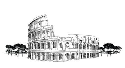 Poster Colosseum in Rome, Italy. Landmark Coliseum, city landscape.