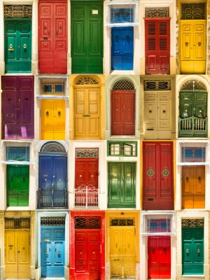 Poster colourful front doors to houses