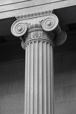 Poster column architectural detail and symbolism