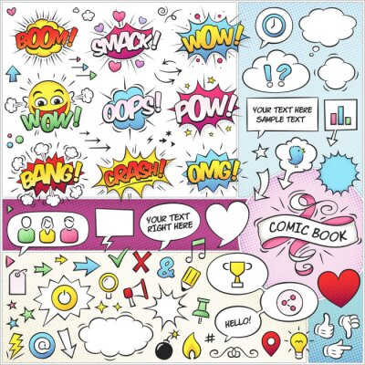 Poster Comic Book Elements Vector Pack