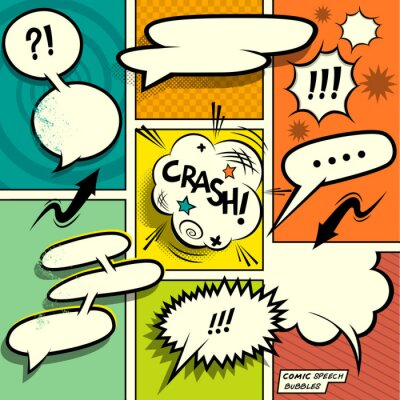 Poster Comic Book Speech Bubbles. A set of colourful and retro comic book design elements with speech bubbles! Vector illustration.