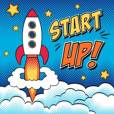 Poster Comic illustration of start up concept with a rocket in pop art