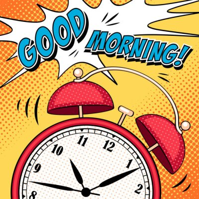 Poster Comic illustration with alarm clock in pop art style