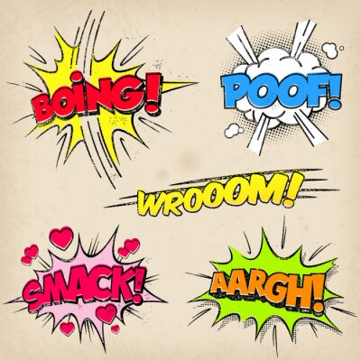 Poster Comic Sound Effects with Grunged Style