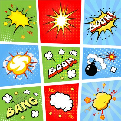 Poster Comic speech bubbles and comic strip background  illustration