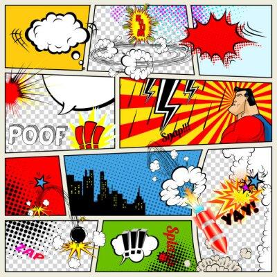 Poster Comics Template. Vector Retro Comic Book Speech Bubbles