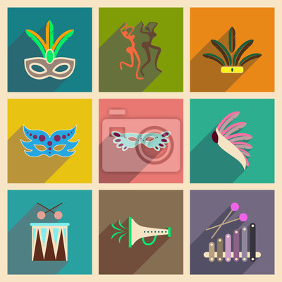 Poster Concept of flat icons with long shadow Brazilian Carnival