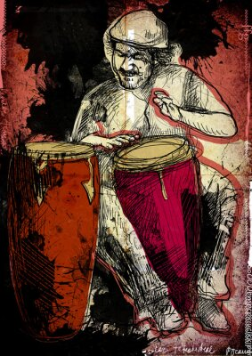 Poster conga player - a hand drawn illustration