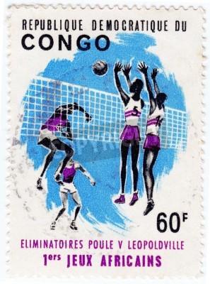 Poster CONGO - CIRCA 1975 : Stamp printed in Congo shows sportsmen valleyball, circa 1975