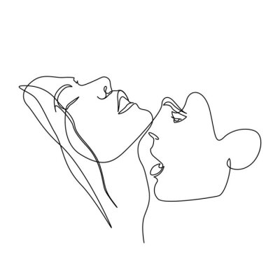Poster Continuous one line beautiful woman and man kisses passionately