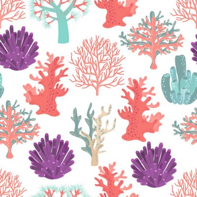 Poster Corals seamless pattern
