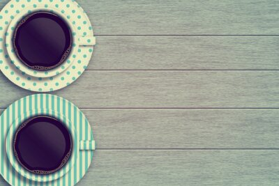 Poster couple of coffee mugs on wooden table