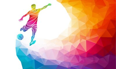 Poster Creative silhouette of soccer player. Football player kicks the ball in trendy abstract colorful polygon rainbow back