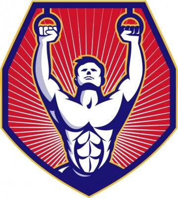 Poster Crossfit Training Athlete Rings Retro