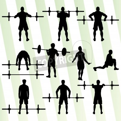 Poster Crossfit training with weights vector background concept for poster