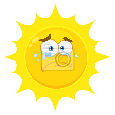 d6cc3395fcff Poster Crying Yellow Sun Cartoon Emoji Face Character With Tears.  Illustration Isolated On White Background