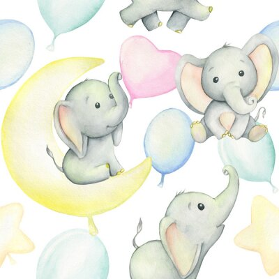 Poster Cute baby elephants surrounded by balloons, watercolor drawing, on white background. Seamless pattern. For children's holiday, digital paper, and invitations.