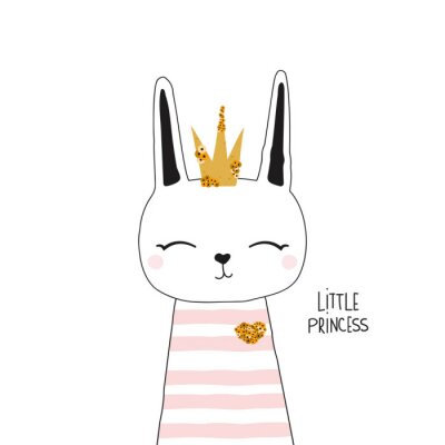 Poster Cute bunny princess with gold crown. Kids trendy graphic. Vector hand drawn illustration.